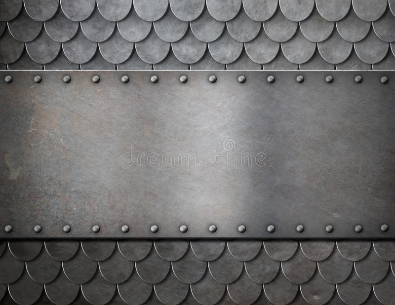 Metal plate over scales armor background stock photo