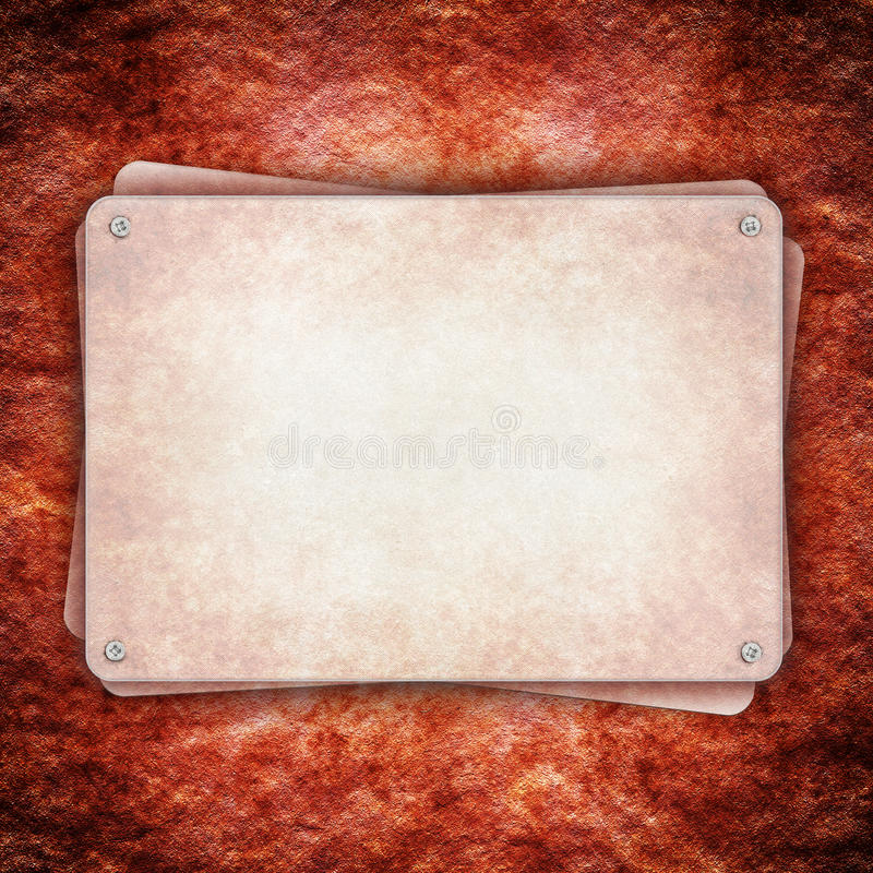 Metal Plate On Red Rough Wall Royalty Free Stock Photos