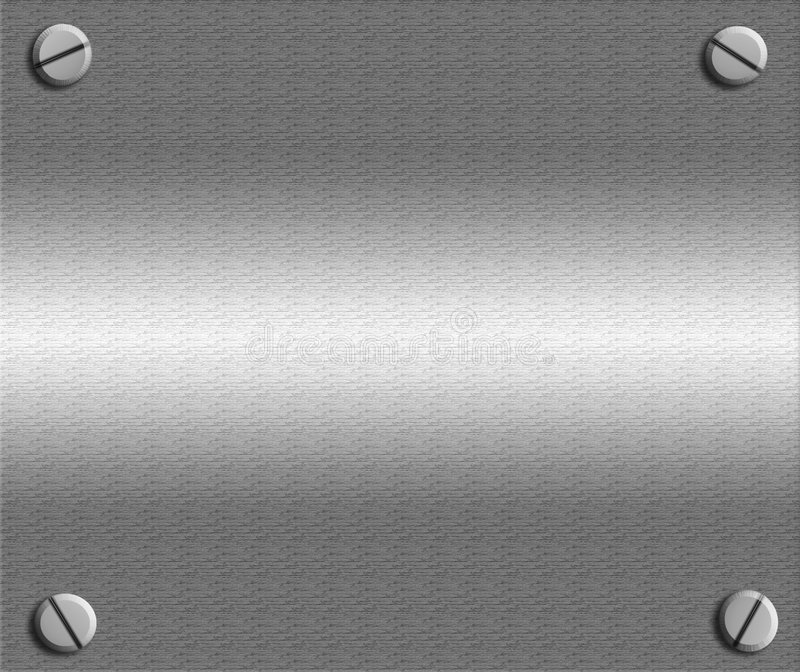 Metal Plate With Screws. Background of a sheet of shiny realistic metal with screws on each corner royalty free illustration