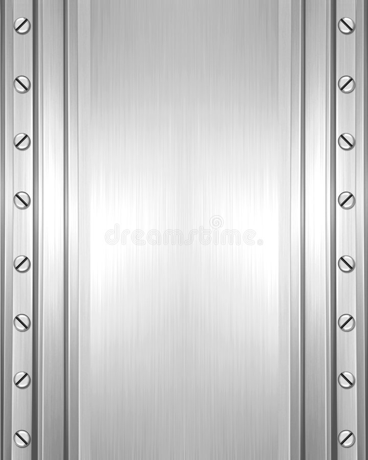 Metal plate with screws stock illustration
