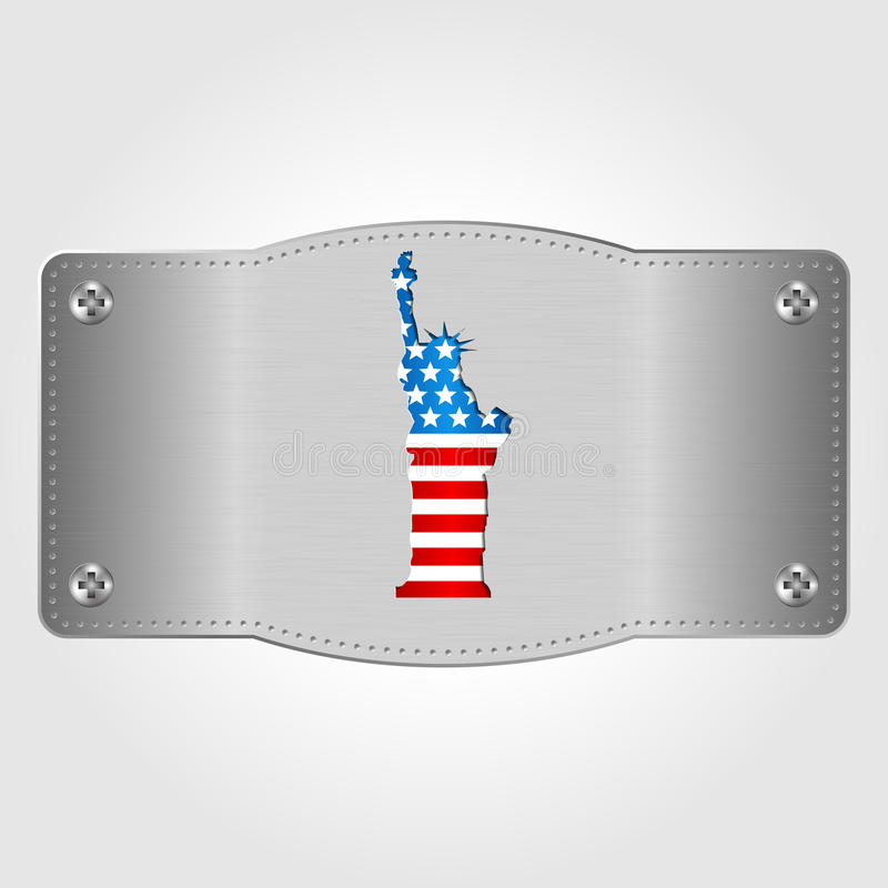 Metal plate with U.S. flag and statue of Liberty. 4th of July. Independence day of United states royalty free stock photo