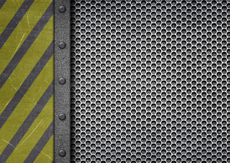 Metal plate with warning stripes background attention danger. il royalty free illustration