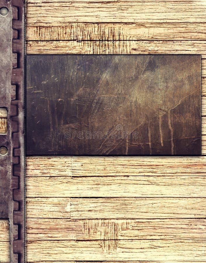 Metal plate on wood background stock illustration