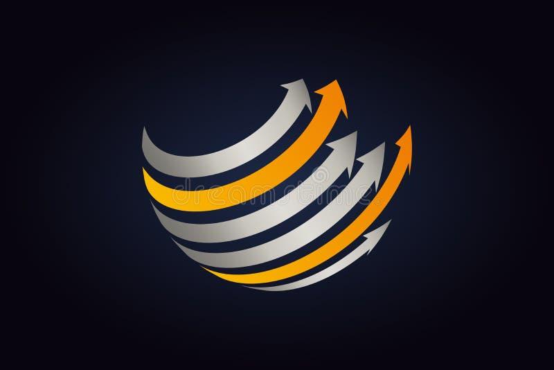 Metal plateado y flechas anaranjadas que circundan la forma de la esfera ilustración del vector
