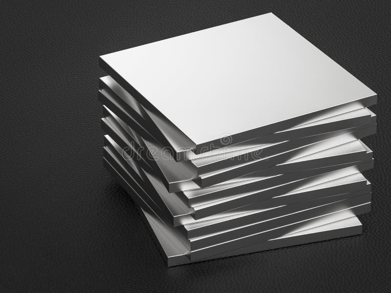 Metal plates. 3d rendering stack of metal plates vector illustration
