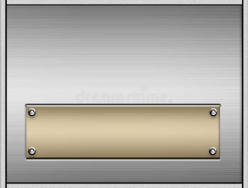 Metal Plates With Nameplate. Background of a sheet of shiny realistic silver brushed metal and another smooth brushed gold metal plate in the middle good for a vector illustration