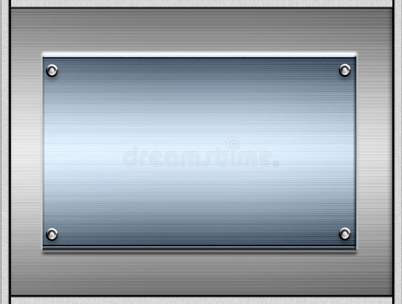 Metal Plates Or Plaques. Background of a sheet of metal and another smooth brushed blue tone metal plate in the middle good for any text stock illustration