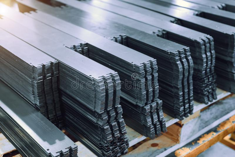 Metal plates after processing on die-cutting press.  royalty free stock photos