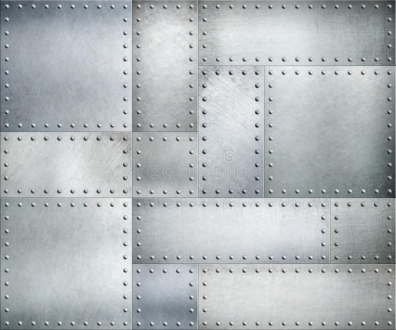 Metal plates with rivets background or texture stock illustration