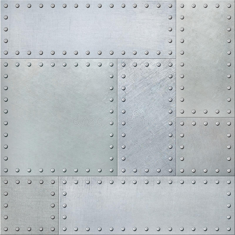 Metal plates with rivets seamless background or texture stock photos