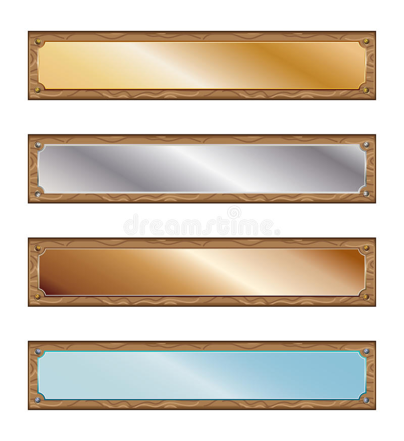 Metal plates with wood frames royalty free illustration