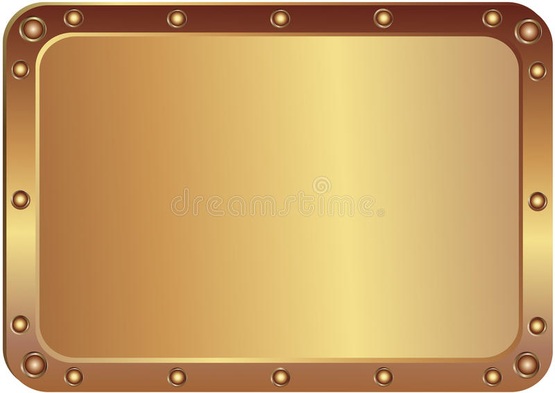 Metal platinum. With the rounded corners with round metal rivets stock illustration