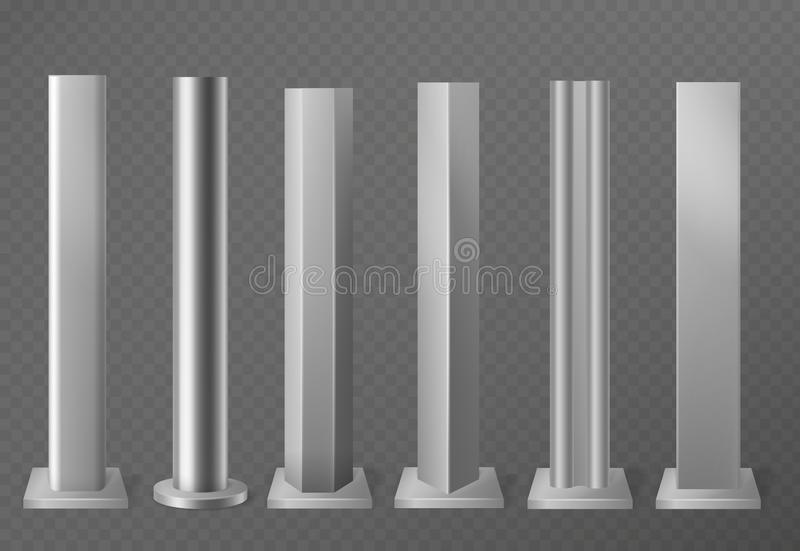 Metal poles. Metalic pillars for urban advertising sign and billboard. Polish steel columns in different section shapes. 3d vector street base aluminum stock illustration