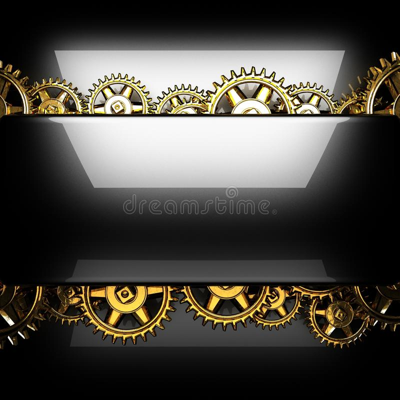 Metal polished background with cogwheel gears stock photo
