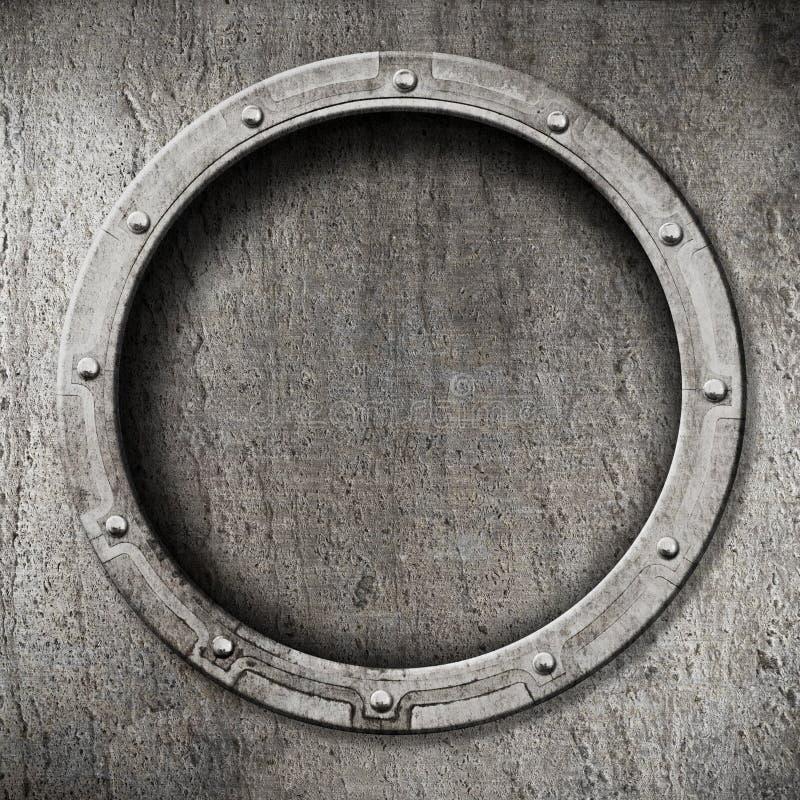 Metal porthole background stock photo