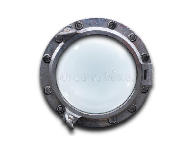 Metal porthole over white background royalty free stock photography