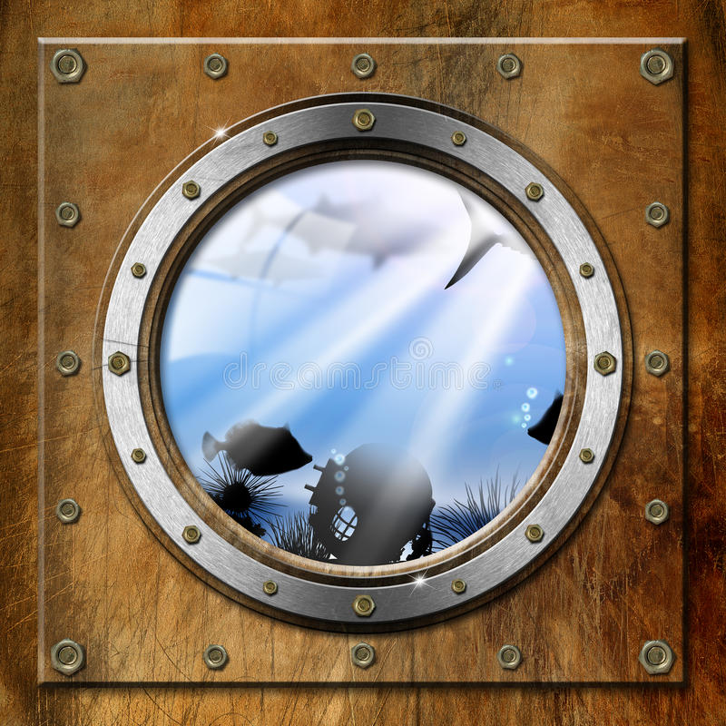 Metal Porthole with Sea Abyss Landscape vector illustration