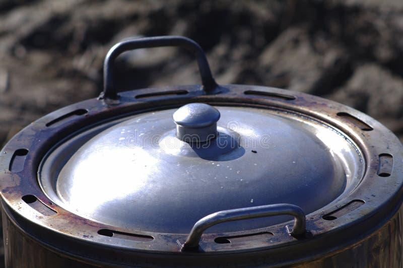 Metal pot with lid stock photos