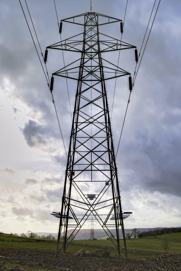 Metal Power Line Pylon Royalty Free Stock Photos