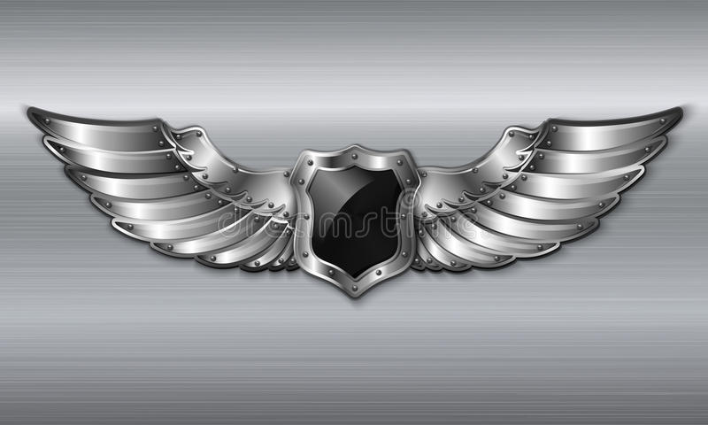 Metal preto emblema voado do protetor ilustração do vetor