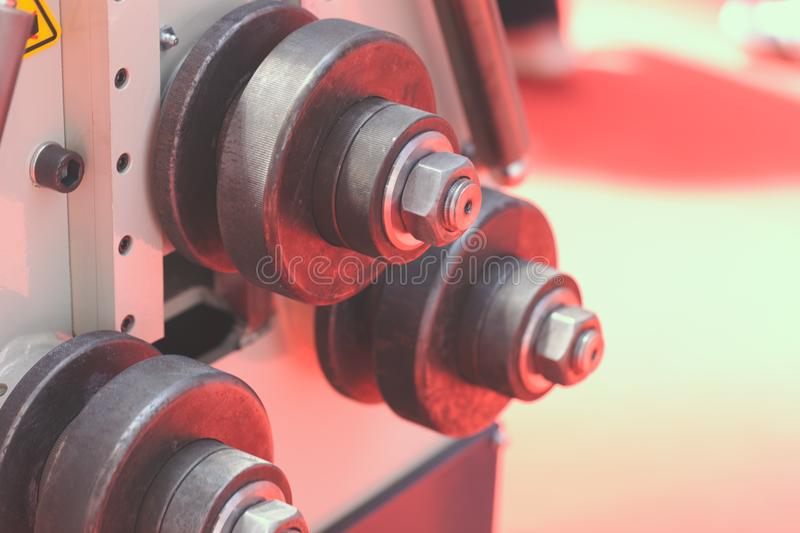 Metal processing machines. Detail of metal processing machines , note shallow depth of field royalty free stock images