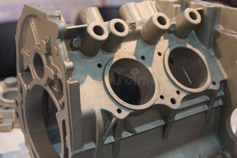 Metal product made by casting techniques closeup. Industry royalty free stock photo