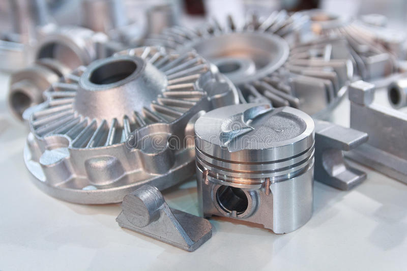 Metal products made by casting techniques. Closeup. Industry stock images