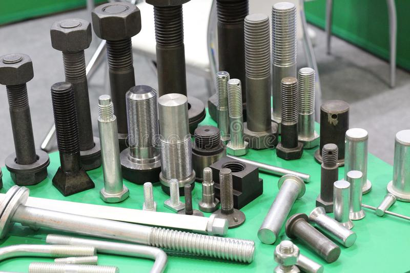 Metal products made at a metallurgical plant. Production of hardware stock photos