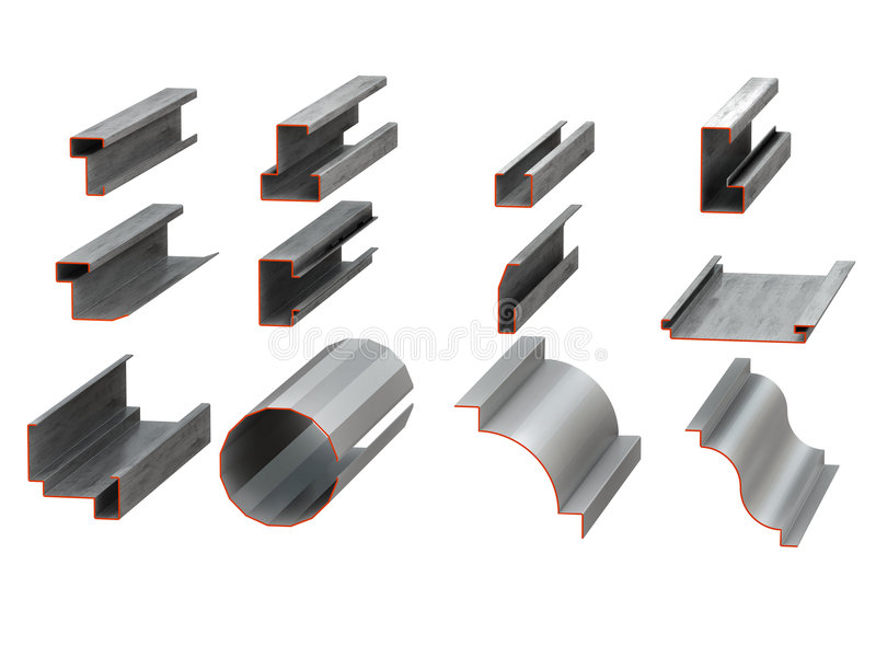 Metal profiles vector illustration