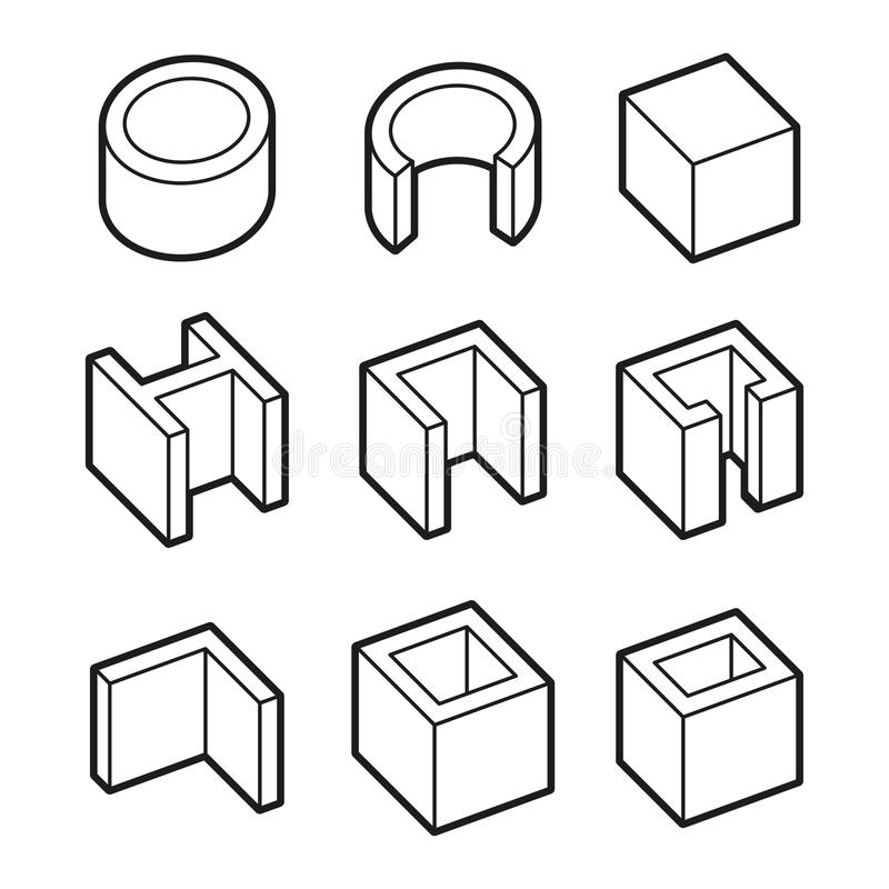 Metal Profiles Icons Set. Steel Products. Vector stock illustration