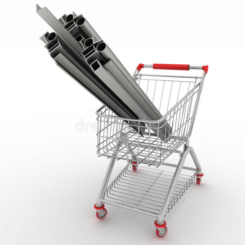 Metal profiles in your shopping cart royalty free illustration