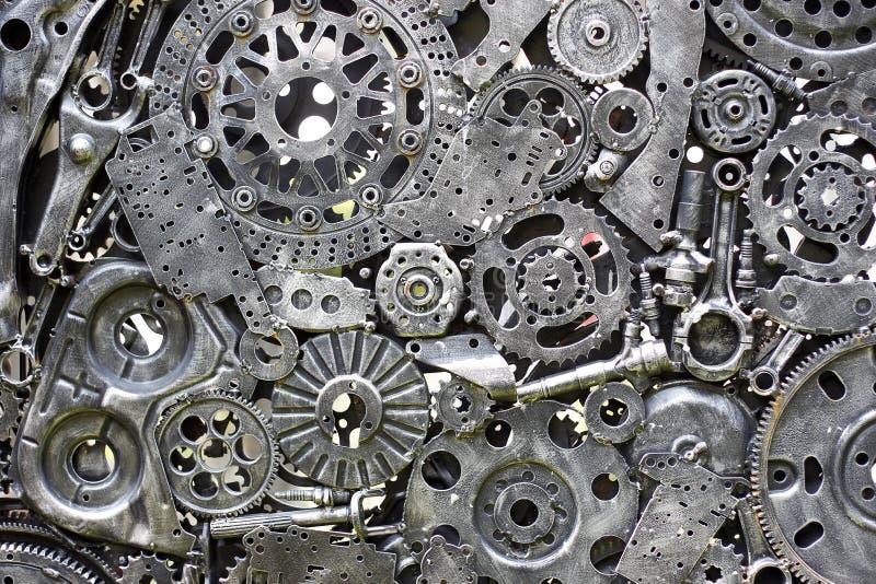 Metal przekładnie, samochód, samochód, motocycle Rękodzieło metalu grafika od używać dodatkowych części zdjęcie stock