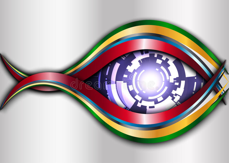 Metal and Purple Digital eye robot abstract background. vector illustration