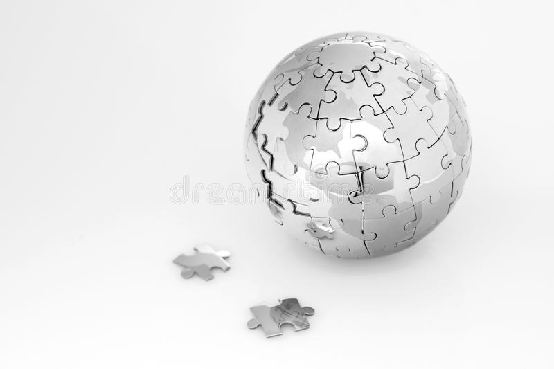 Metal puzzle globe stock photography