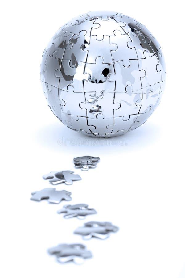 Metal puzzle globe stock photo