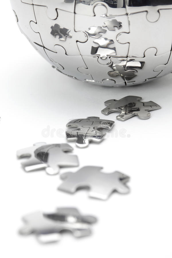 Metal puzzle globe close-up royalty free stock images