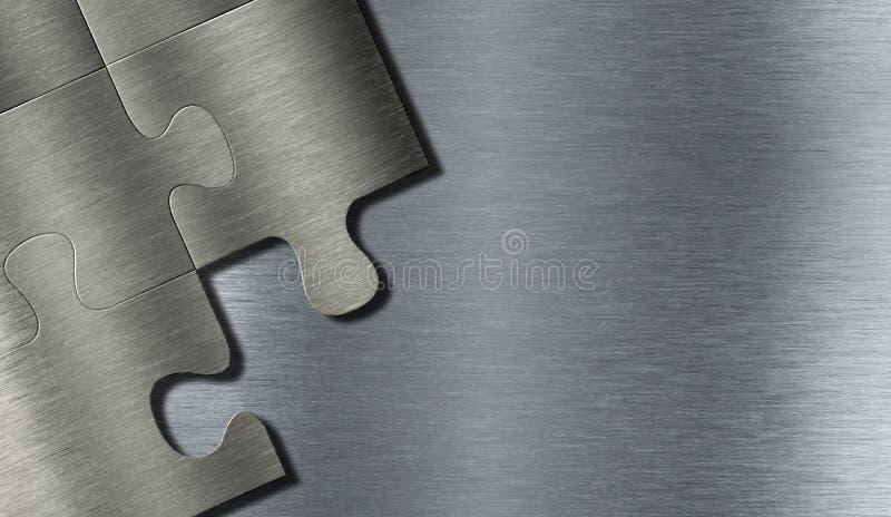Metal puzzle pieces stock image