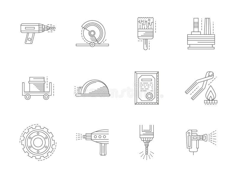 Metal que procesa la línea plana iconos fijados libre illustration