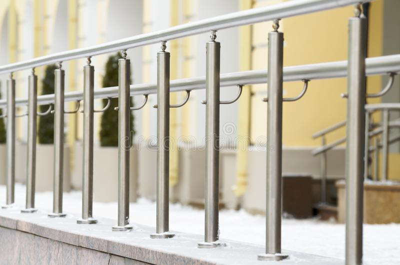 Metal railings for pedestrians. royalty free stock image
