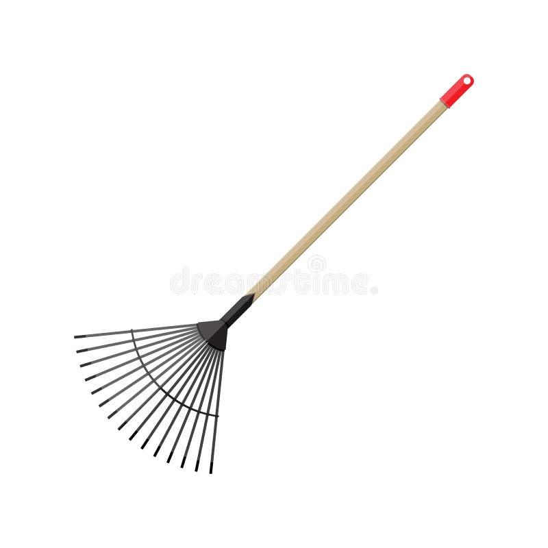 Metal rake with wooden handle. Garden accessories. Vector illustration flat design vector illustration