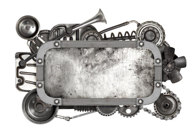 Metal ramowy i stary auto dodatkowych części samochód odizolowywający zdjęcia stock