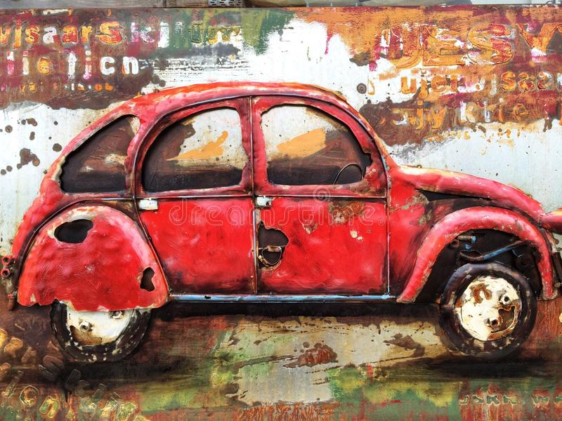 Red Metal car wall painting royalty free stock photography