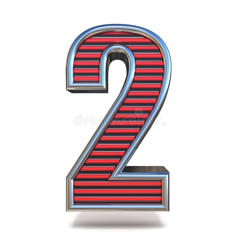 Metal red lines font Number TWO 2 3D royalty free illustration