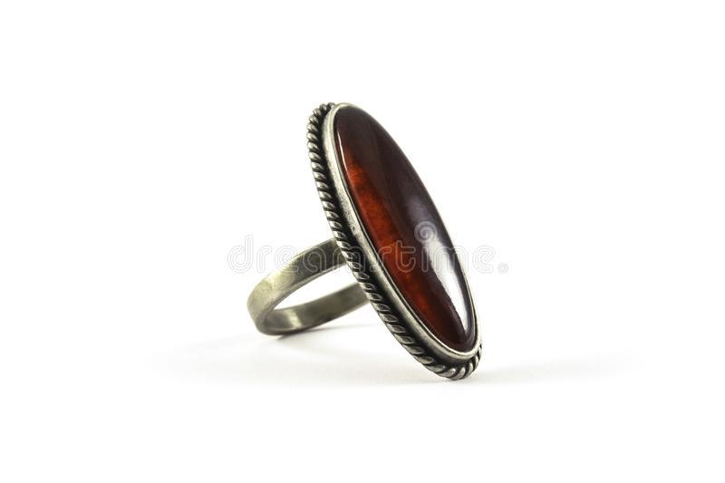 Metal ring with amber stock image