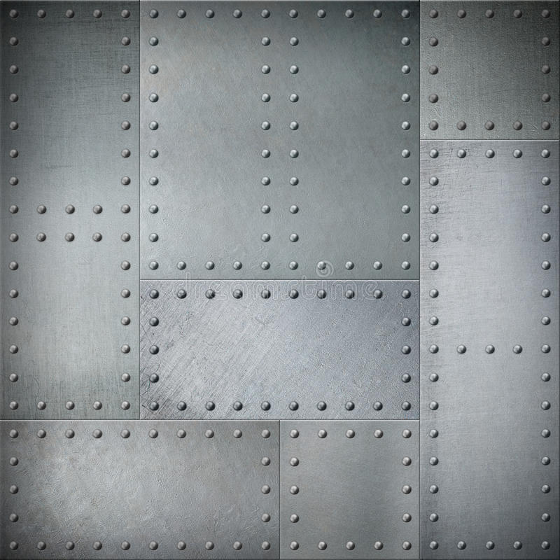 Metal with rivets steel background or texture. Metal with rivets patched steel background stock photo