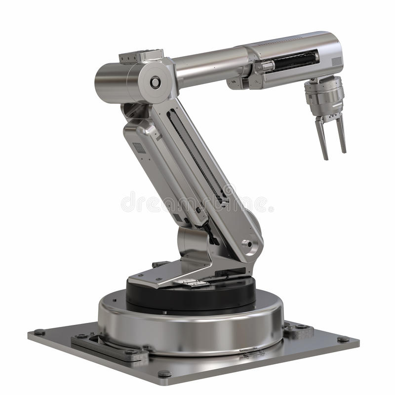 Metal robot arm on white background royalty free stock images