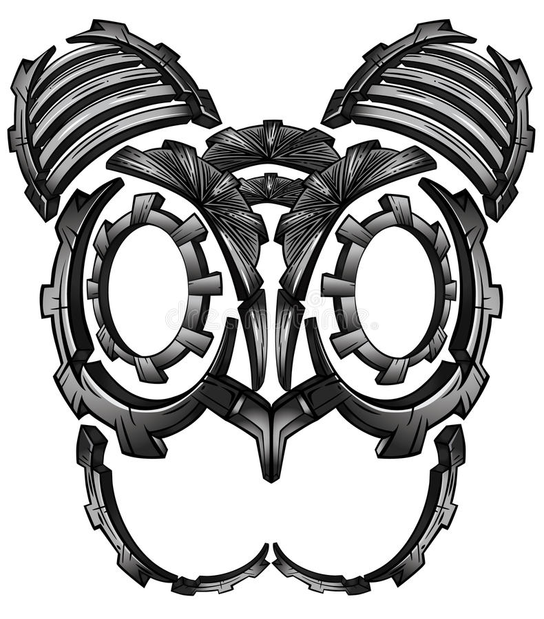 Metal robot cyber techno fantasy digital cat face design. Metal steel robot cyber techno fantasy digital cat face design vector illustration