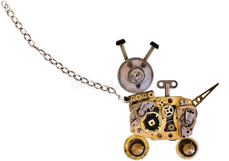 Metal robot dog on a metal chain. stock photo