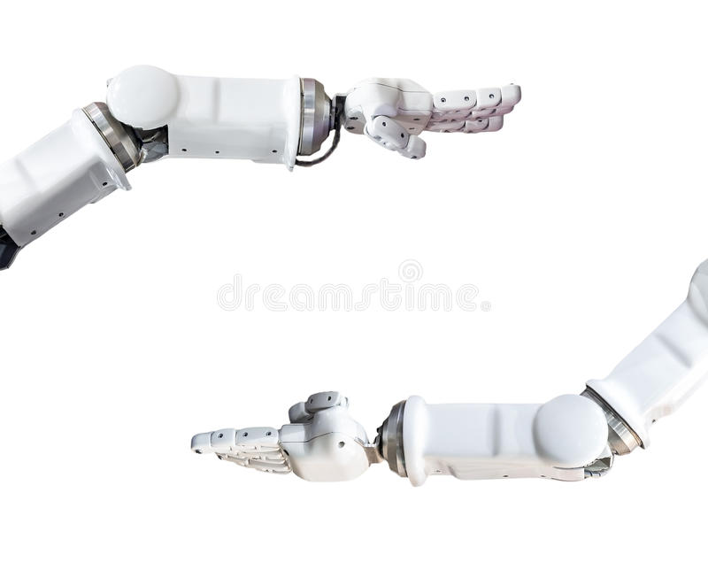 The metal robot hand isolated on white. Metal robot hand isolated on white background stock photo