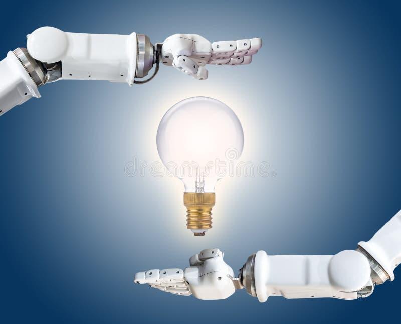 The metal robot hand with light bulb. Metal robot hand with glowing light bulb, conceptual idea stock photography